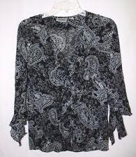 Chico's Design Womens Size 0 Black White Paisley 3/4 Sleeve Silk Crinkle Blouse