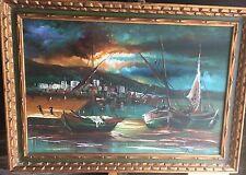 Mid-century Vibrant Fishing Harbor Scene Oil Painting - Signed Bartnice