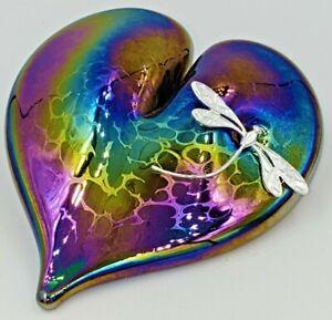 Neo Art Glass iridescent rainbow heart paperweight & silver dragonfly K.Heaton