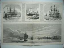 GRAVURE 1858. PORT DE PORTSMOUTH. LE VICTORY, ANCIEN NAVIRE DE NELSON. L'EXCELLE