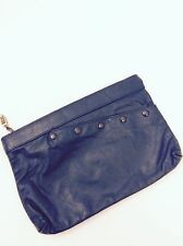 Vintage Anton Leather Navy Blue Purse Clutch Midnight Blue Handbag 80's 90's