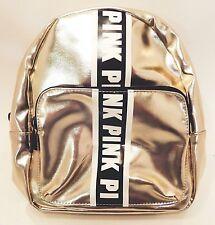 Victorias Secret Pink Metallic Silver Black Drawstring Bag Backpack 16 X 14