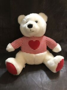 """Snuggly 11"""" Hallmark White Plush Stuffed Bear With Red Heart & Striped Sweater"""