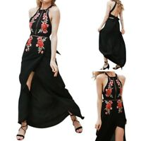 Women Fashion Sleeveless Flower Embroidery Romper High Slit Party Maxi Dress