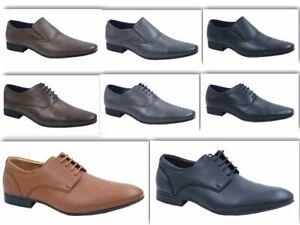 Mens Faux Leather Smart Designer Black Formal Suit Dress COMFORT Wedding Shoes