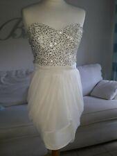Ladies Lipsy grecian style sequinned cream dress 10 prom par