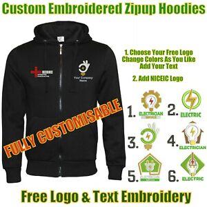 Custom Embroidered PERSONALISED Fleece Hoodie ELECTRICIANS UNIFORM NICEIC LOGO