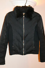 GUESS Women's Black Zip-Up Jacket Coat Faux Fur Collar G By Guess Size. Small