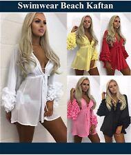 Womens Floral Fringed Swimwear Beach Bikini Cover Up Dress Kaftan Kimono + Sizes