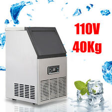 90Lbs/40kg Auto Commercial Ice Cube Maker Machines Stainless Steel Bar 110V