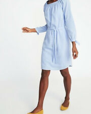 Old Navy Blue White Striped Tie Sleeve Dress NWT MEDIUM Belted