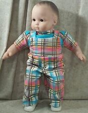 """Doll Clothes Baby Handmade 4 American Girl Boy 15"""" Overalls 2pc Plaid Teal Pink"""