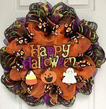 Happy Halloween Wreath With Dangling Ghost, Candy Corn, Pumpkin Deco  Mesh
