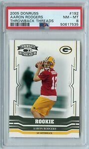 2005 Donruss Aaron Rodgers Throwback Threads Rookie 785/999 #192 PSA 8 PACKERS