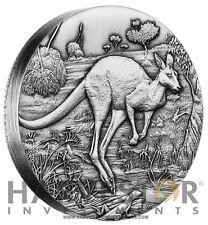 2016 SILVER AUSTRALIAN HIGH RELIEF KANGAROO 2 OZ. SILVER ANTIQUE FINISH $2 HR