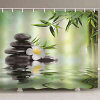 Stones And Bamboo Leaves 3D Shower Curtain Waterproof Fabric Bathroom Decoration