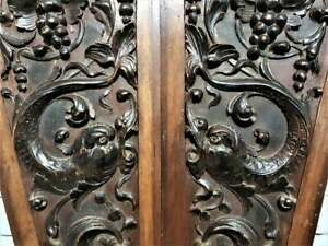 Pair sea monster grapes wine scroll panel Antique french architectural salvage