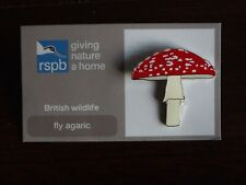 RSPB GNaH fly agaric Metal Pin Badge on FR Card