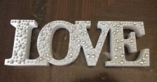 ❤️ WHITE & SILVER LARGE DIAMANTE LOVE SIGN ORNAMENT WOODEN PLAQUE GIFT PRESENT