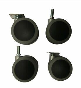 4pcs – Design cabinet/furniture castors, swivel 75mm Plate or stem fitting