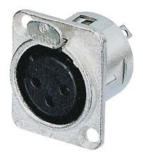 Genuine Neutrik 3 Pin XLR Female Chassis Socket - Item Code: NC3FD-L-1