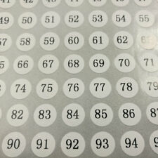 400 Number Stickers 1 To 100 Black Letters Round & White Sticker 0.39""