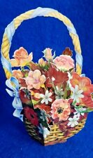 FREESIA FLOWER BASKET  VINTAGE 1989 retro POP UP 3D GREETING CARD envelope RRP£6