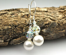 Elegant White Pearl Crystal W Swarovski Elements Earrings Sterling Silver Filled
