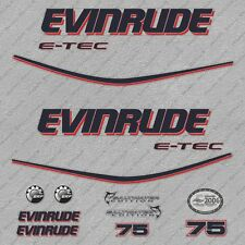 Evinrude 75 hp ETEC outboard engine decals sticker set reproduction White Cowl
