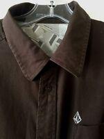 Volcom Tailored Shirt Stretch Short Sleeve Button Front Brown Men's XL