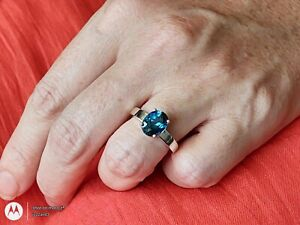 Natural Brazilian London Blue Topaz Sterling Silver Ring.   3.30 TCW.  Sz:7