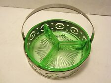 Depression Green Uranium green glass Relish Dish Chrome Basket Vaseline VINTAGE