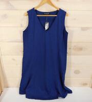 NWT Jones New York Women's Plus Sz 1X Sleeveless Dress Blue Black (Missing Belt)