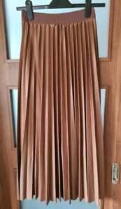 Women's Brown Pleated Midi Skirt Size -  EUR 36/38 , NEW