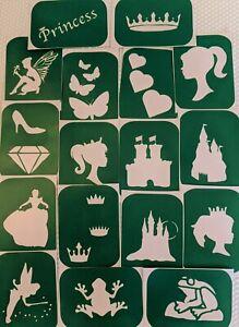 17 x Princess-1 Stencils  Body Art And Glass Etching  Glitter Stencil Art Craft
