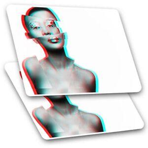 2 x Rectangle Stickers 7.5 cm - Beautiful Lady Glitch Modern Art Cool Gift #2120