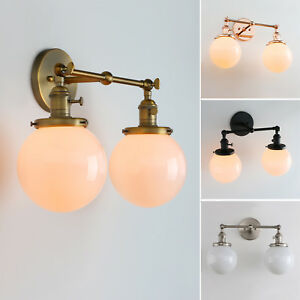 "5.9"" GLOBE WHITE GLASS RETRO INDUSTRIAL WALL LAMP SCONCE DOUBLE ARM WALL LIGHT"