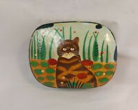 Vintage Hand Painted Paper Mache Lacquer Trinket Box – Cat Forest Scene