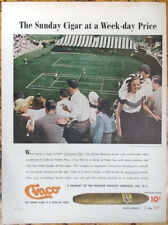 Cinco cigars Sunday tennis ad 1947 original vintage advert 1940s print Albany