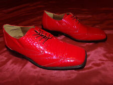ROBERTO CHILLINI Men's Shoes Hot Red Shiny w/ Exotic Croco Look Sz 9 Very Nice