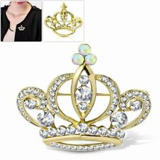 Crown Women Pin / Clear Alloy Golden Fashion with Royal Princess