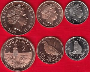 Gibraltar set of 3 coins: 1 - 5 pence 2000 UNC