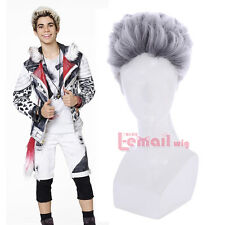 30cm Men Short Carlos De Vil Black With Silver White Cosplay Wig ZY191