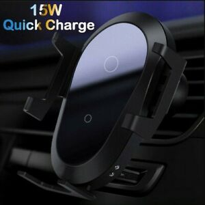 Car Mount 15W Qi Wireless Fast Charger Automatic Clamping air Vent Phone Holder