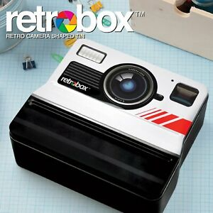 Retro Camera Shaped Tin Container Photo Box Storage Office Home