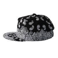 Black Hat Peaked Cap White Paisley Snapback Baseball Unisex One Size Adjustable