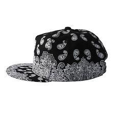 Chapeau Noir Casquette à Visière Blanc Paisley Snapback Baseball Unisexe Taille Unique Réglable