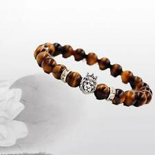 Mens Cool Buddha Lion Head Agate Amber Jasper Gems 8MM Beads Bracelet G5S