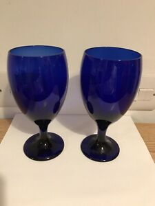 """Pair Vintage Libbey Cobalt Blue 7"""" Wine/water Glass Goblets Made In USA Excell"""