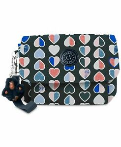 KIPLING 🐵NWT $49🙉 C8602 Selene Wristlet🙊 Blue Merry Hearts Print 💖Wallet SC